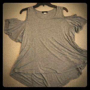 Gray cold shoulder top
